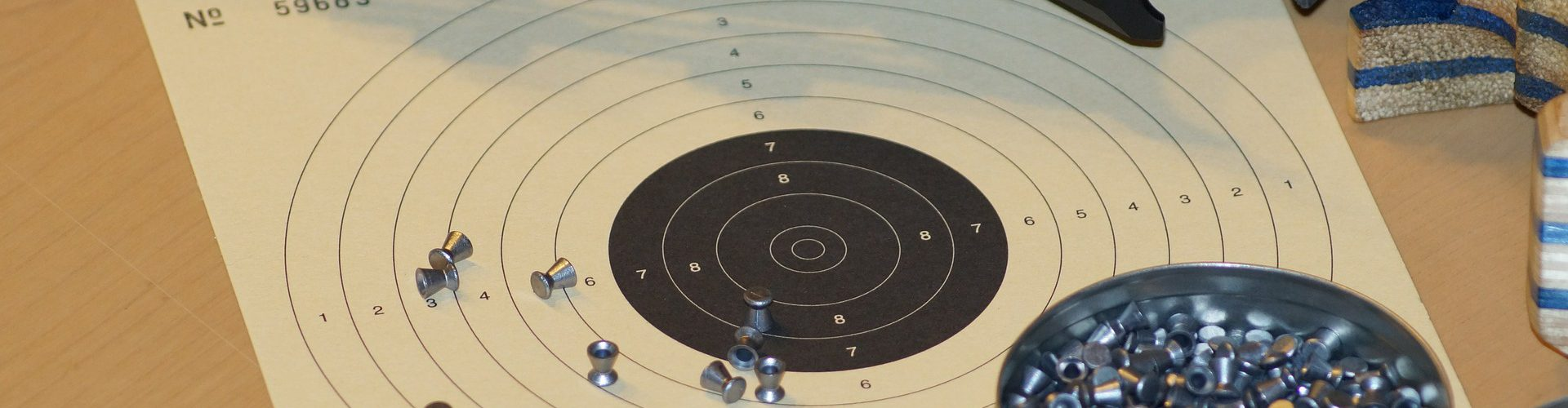 Bild zeigt eine Schießscheibe, Diabolos und eine Luftdruckwaffe