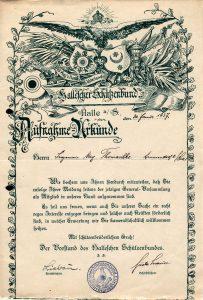 Historische Aufnahmeurkunde eines Mitglieds
